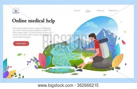Medical Worker Online Helping Hiking Man, Person With Injured Knee In Mountains. Patient With Smartp