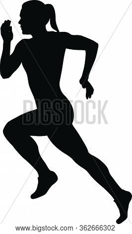 Woman Athlete Sprinter Run Black Silhouette Vector