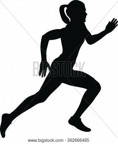 Girl Athlete Runner Run Black Silhouette Vector