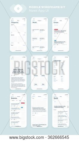 Wireframe Ui Kit For Smartphone. Mobile App Ux Design. New Os News, Categories, Articles Screens.