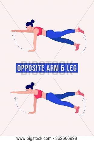 Girl Doing Opposite Arm & Leg Exercise, Woman Workout Fitness, Aerobic And Exercises. Vector Illustr