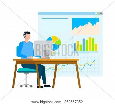 Whiteboard With Information In Visual Representation Vector, Infochart Worker With Laptop Working In