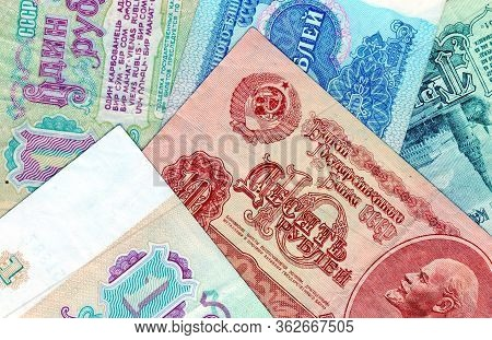 Fragments Banknotes Of The Ussr - One, Three, Five, Ten. Closeup. Collection. Old Banknotes Of The S