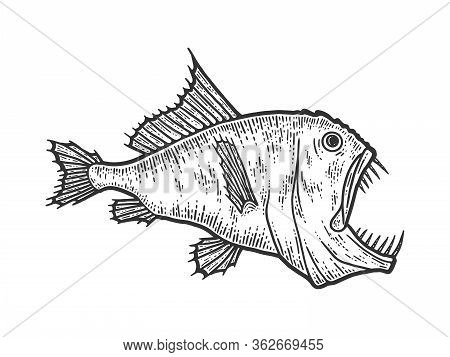 Deep Sea Predatory Fish, Scary Animal. Sketch Scratch Board Imitation.