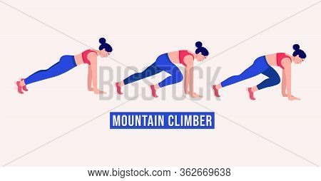 Girl Doing Mountain Climber Exercise, Woman Workout Fitness, Aerobic And Exercises. Vector Illustrat