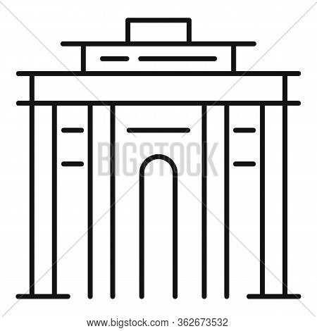 Exhibition Center Icon. Outline Exhibition Center Vector Icon For Web Design Isolated On White Backg