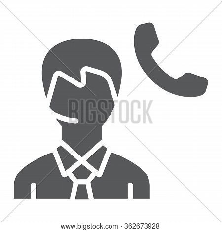 Call Center Glyph Icon, Support And Helpline, Man Support Operator Sign Vector Graphics, A Solid Ico