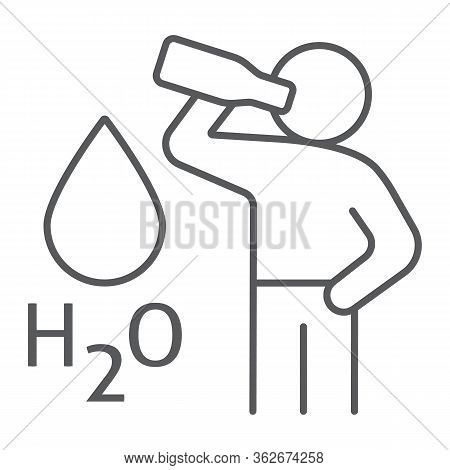 Stay Hydrated Thin Line Icon, Healthy And H2o, Drink Water Sign, Vector Graphics, A Linear Icon On A
