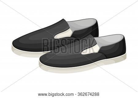 Men Casual Pair Of Loafers Or Moccasins Without Shoelace Isolated On White Background Vector Illustr