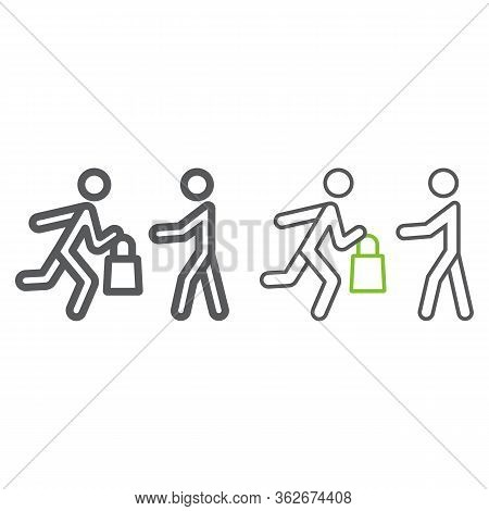 Delivery Man With Food Line And Color Icon, Service And Food, Courier Giving Food Sign, Vector Graph