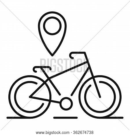Gps Pin Bike Location Icon. Outline Gps Pin Bike Location Vector Icon For Web Design Isolated On Whi