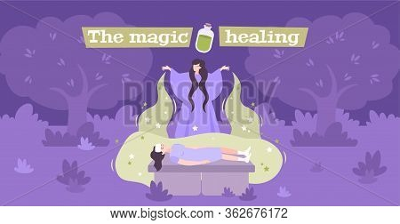 White Magic Disease Healing  Purification Supernatural Power Energy Practitioner Flat Mystical Compo