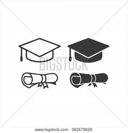 Graduation Cap Icon Isolated On White Background. Graduation Cap Icon In Trendy Design Style. Gradua