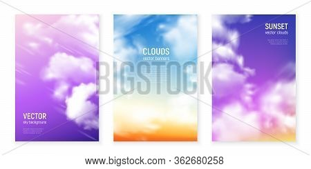 Blue Magenta Violet Sky Backgrounds With Floating Wisps Of Clouds Realistic Vertical Banners Set Iso