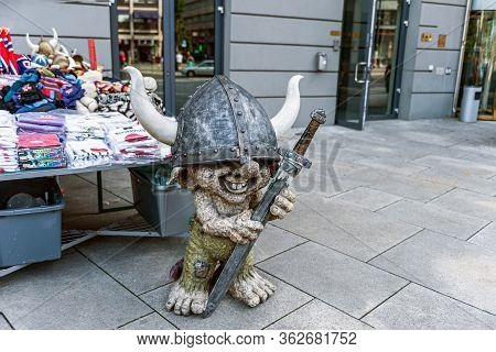 Oslo, Norway July 26, 2013: A Stone Troll Figure On A Street In Oslo, Norway At The Entrance To A St