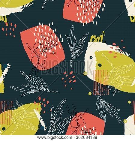 Vector Abstract Seamless Pattern. Sea Buckthorn Theme