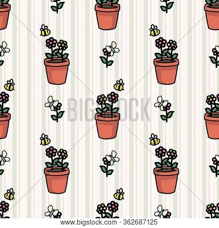 Cute Plant Pot With Bugs Seamless Vector Pattern. Hand Drawn Growing Garden For Stay Home Illustrati