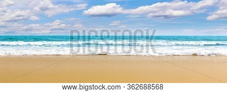 Panorama Tropical Beach Natural Background For Summer Vacation. Panorama Photo Turquoise Ocean Water