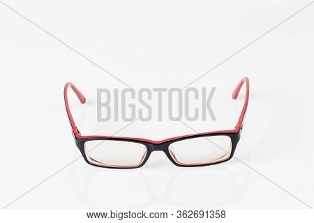 Modern Eyeglass Isolated On White Background. Single Black And Red Eyeglasses.glasses On White Backg