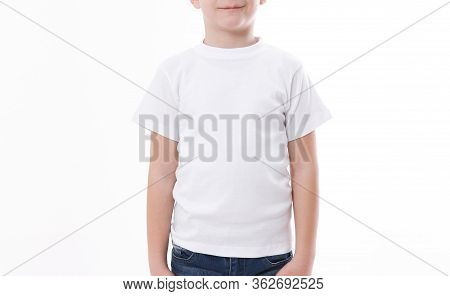 T-shirt Design And People Concept - Close Up Of Young Man In Blank White T-shirt, Shirt Front And Re