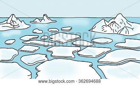 Ice At The North Pole Is Floating In The Water.