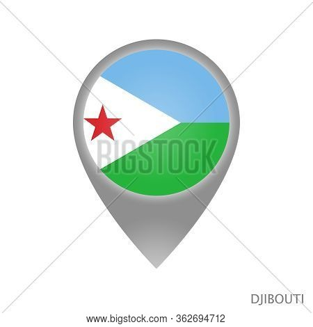 Map Pointer With Flag Of Djibouti. Colorful Pointer Icon For Map. Vector Illustration.