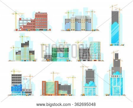 Skyscrapers Building Construction Isolated Cartoon Vector Icons Set. Working Cranes Put Stone Blocks