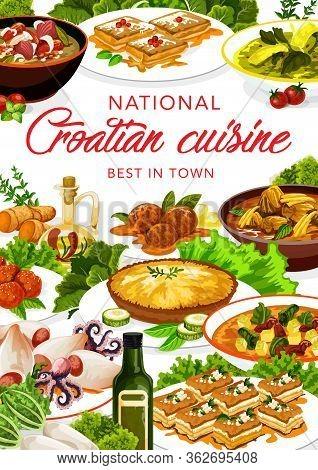 Croatian Cuisine Restaurant, Vector Menu Cover, Croatia National Authentic Food Dishes. Croatian Cui