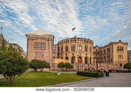 Oslo, Norway-august 1, 2013: Stortinget Parliament Building Oslo Norway With Beautiful Fine Light Cl