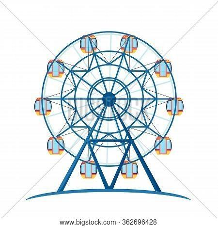 Amusement Entertainment Park Giant Wheel For Fun. Vector