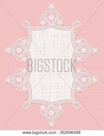Lace Doily, Crochet And Fabric. White Lace Napkin On A Pink Background. Openwork Vertical Frame.