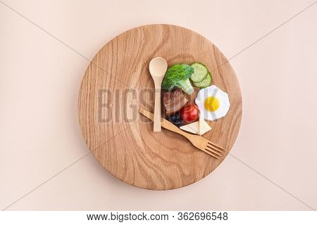 Intermittent Fasting. Healthy Breakfast, Diet Food Concept. Organic Meal. Fat Loss Concept. Weight L