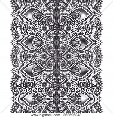 Abstract Black Lace Texture Pattern On White Background For Textile. Vertical Seamless Ribbon. Croch