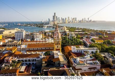Aerial View Of The Historic City Center Of Cartagena, Colombia. Panorama Of The Old And New Parts Of