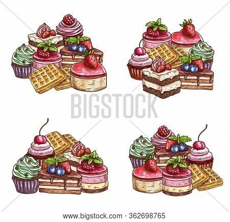 Desserts And Cakes, Vector Sketch Bakery, Pastry And Confectionery Sweets. Patisserie Food Tarts And