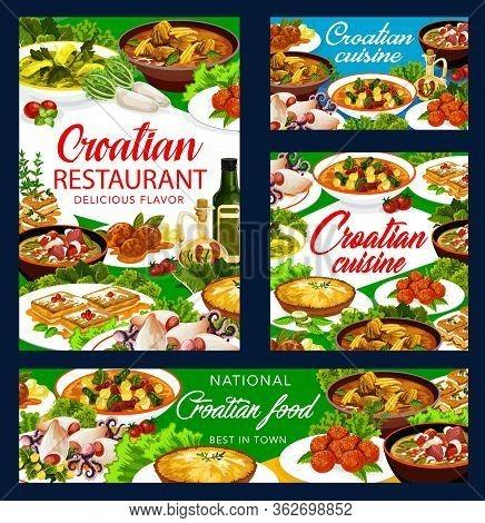 Croatian Cuisine National Food Vector Banners And Posters, Croatia Authentic Restaurant Menu. Croati