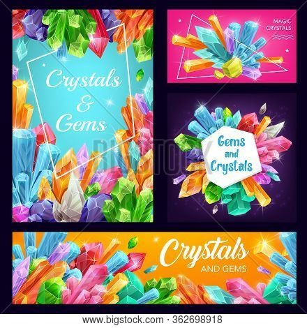 Gems And Crystals, Precious Gemstones, Vector Posters And Banners. Magic Rhinestone Jewels And Miner