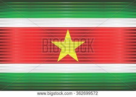 Shiny Grunge Flag Of The Suriname - Illustration,  Three Dimensional Flag Of Suriname