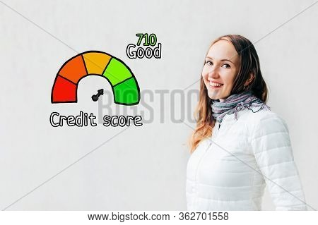 Credit Score Good Concept - Girl On A White Background With Icons And Text. Close Up.