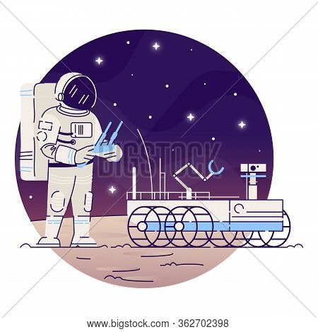 Astronaut With Moon Rover Flat Concept Icon. Cosmonaut In Outer Space Sticker, Clipart. Space Explor