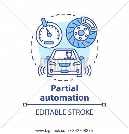 Partial Automation Concept Icon. Vehicle With Cruise Control And Parking Sensors. Electronic Car Sys