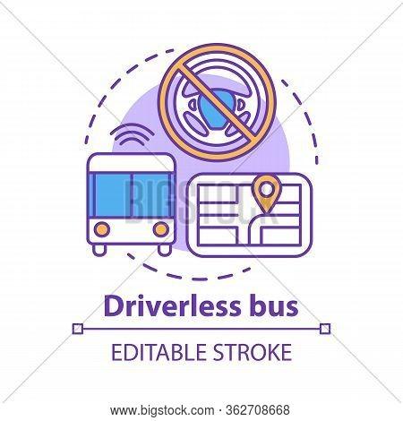 Driverless Bus Concept Icon. Autopilot For City Passenger Transportation. Autonomous Vehicle On Rout