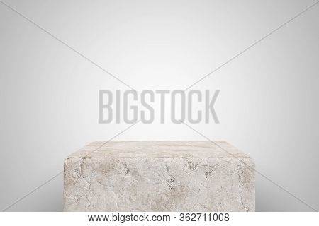 Empty Scratched Concrete Podium On White Background. Best For Product Presentation. 3d Rendered Cube