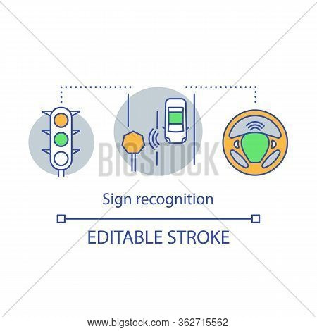 Sign Recognition Concept Icon. Autopilot System. Safety Movement Of Driverless Car. Traffic Signs De