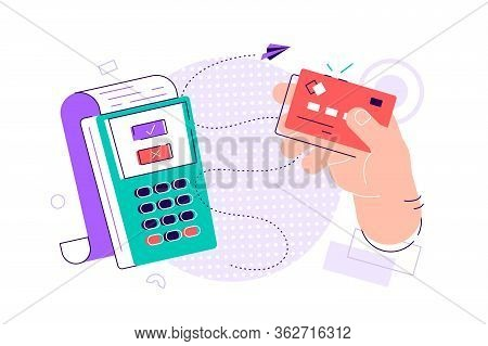 Hand Holding Debit Or Credit Card, Waving It Over Electronic Terminal Or Reader And Paying Or Purcha