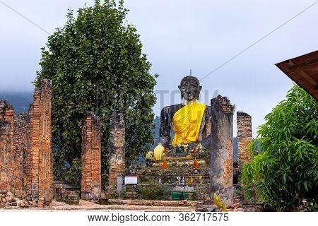 Ancient Ruin Of Wat Pia Wat (16th Century) Remaining From The War In Meuang Khoun Xieng Khouang Prov