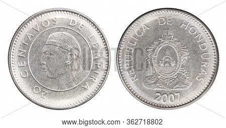 Honduran 20 Centavo With The Image Of An Indian Chief Lempira Isolated On A White Background