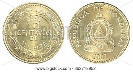 Honduran 10 Centavos Isolated On White Background Close-up