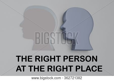 3d Illustration Of Head Silhouette Next To Amatching Hole, And The Right Person At The Right Place T