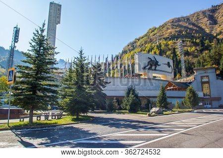 Almaty, Kazakhstan - Oktober, 2, 2019: Famous Skating Rink Medeo In Almaty, Kazakhstan And Tian Shan
